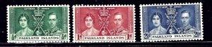 Falkland Is 81-83 MNH 1937 KGVI Coronation    (ap2306)
