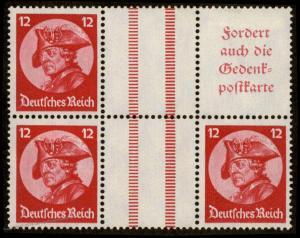 Germany Mi WZ10 Frederick the Great Se-Tenant Zusammendruck MH 91842
