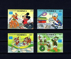 DOMINICA - 1986 - DISNEY - STAMP COLLECTING - MICKEY - DONALD - MINT - MNH SET!