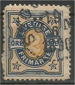 SWEDEN, 1892, used 2o, Numeral, Scott 53