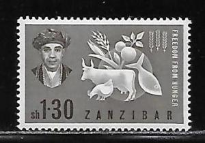 Zanzibar, 280 Freedom From Hunger single MNH