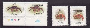 Tonga-Sc#567,577-unused NH [ peelable backs ]+ stamp with  progressive overpri