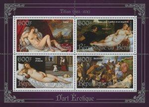 Erotic Art Paintings Titian Souvenir Sheet of 4 Stamps Mint NH