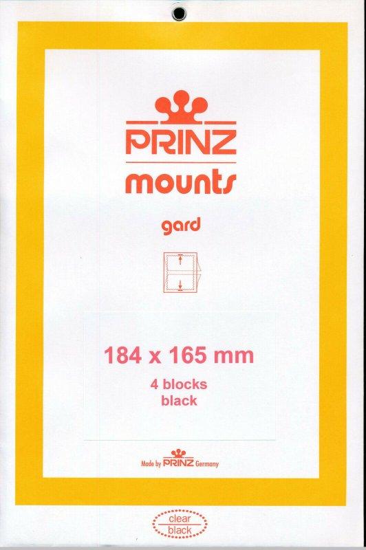 Prinz Scott Stamp Mount 184/165 mm - BLACK (Pk of 4) (184x165 184mm) PRECUT 1022