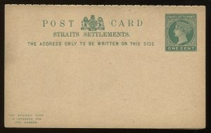 Straits Settlements QV 1 cent unused Post card with reply card attached