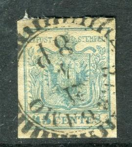 AUSTRIA; LOMBARDY 1850 early classic Imperf issue fine used 45c. fine cancel