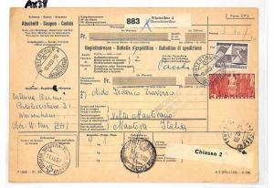 Switzerland Winterthur Parcel Receipt Italy Postage Dues Como 1959 AX38