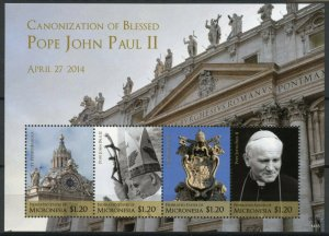 Micronesia Stamps 2014 MNH Canonization Blessed Pope John Paul II 4v M/S II