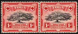 Tonga 1942 Sg75 1d Black & Scarlet Wmk MSCA Pair MNH