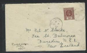 LEEWARD ISLANDS  (P1104B) 1938  KGV 1 1/2D ST KITTS PRINTED MATTER RATE TO NEW Z