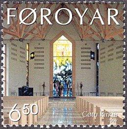 Faroe Islands # 425 mnh ~ 6.50k Gota Church - Interior