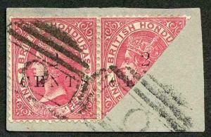 British Honduras SG27c 2dc on 1c rose Bisected on piece