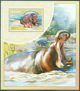 Niger MNH S/S Hippopotamus Wildlife 2014