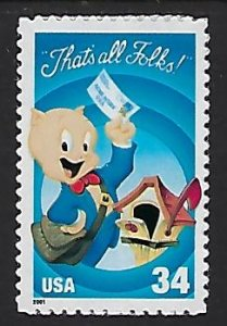 Catalog #3534 Single Stamp Loony Tunes Porky Pig That's all Folks