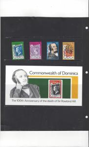 Dominica 608-12  Sir Rowland Hill Souvenir Sheet MNH