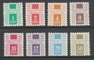 Singapore Sc J1-J8 MNH. 1968 First postage dues, complete set, fresh, bright