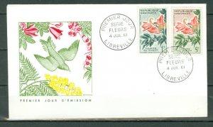 GABON 1961 FLOWERS #158x2 on NICE FDC