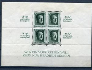 Germany 1937 Souvenir Sheet MH  Mi Block 11 Sc B104