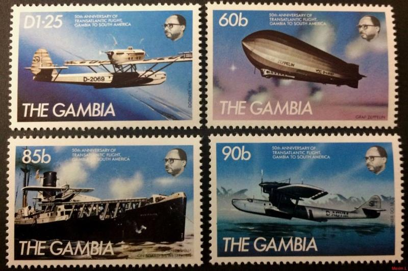 Gambia 1984** Mi.535-38. Transatlantic Flight [20;95]
