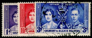 GILBERT AND ELLICE ISLANDS SG40-42, COMPLETE SET, FINE USED. CORONATION.