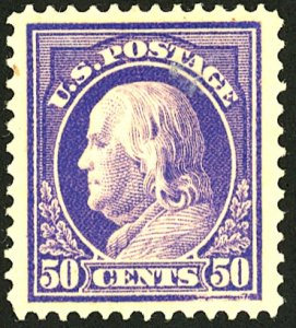 U.S. #422 MINT with APES Cert OG Previously Hinged