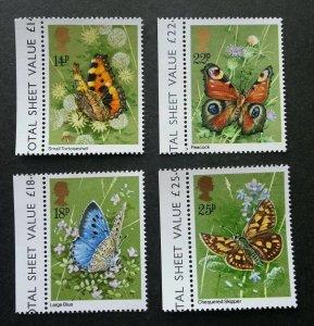 Britain Butterflies 1981 Insect Flora Fauna Flower Butterfly (stamp margin) MNH