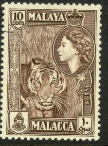 MALAYA MALACCA  1957 QE2 10c TIGER Pictorial Issue Sc 50 MH