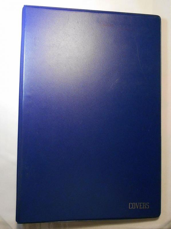 Cover ALBUM blue holds 90 standard #6, 23 ring binder, clear pages