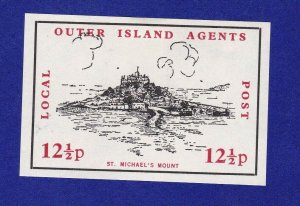 GB277) 1971 Postal Strike, Outer Island Agents, St. Michael's Mount. 12 1/2p