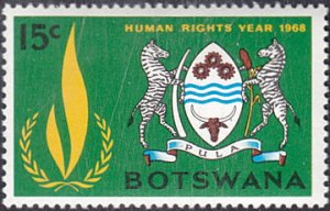 Botswana # 41 mnh ~ 15¢ Human Rights Flame, Arms