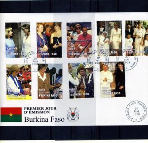 Burkina Faso 1998 Pope John Paul II-Princess Diana Set (9) Perforated in FDC