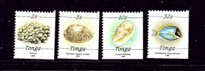 Tonga 756-59 MNH 1990 Sea Shells  Booklet stamps