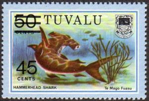 Tuvalu 150 - Mint-NH - 45c on 50c Hammerhead Shark (1981) (cv $0.60)