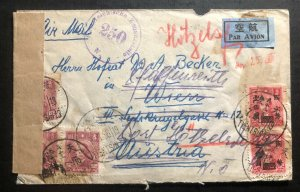 1938 Tientsin China Inflation Stamps Censored Airmail Cover To Vienna Austria