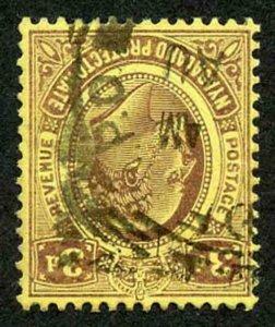 NYASALAND SG75w 1908-11 3d purple/yellow variety wmk INVERTED Fine Used