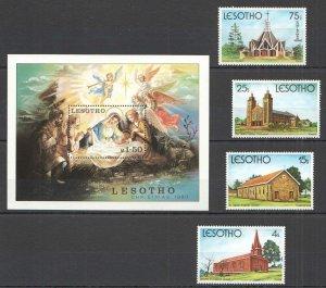 M0215 1980 LESOTHO ART CHURCHES CHRISTMAS 1980 #319-22 BL+SET MNH