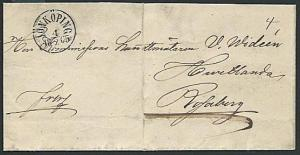 SWEDEN 1865 folded wrapper with fine NONKOPING cds.......................38496