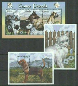 T0782 2001 UGANDA PETS DOMESTIC ANIMALS CATS & DOGS CANINE FRIENDS 1KB+2BL MNH