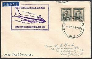 NEW ZEALAND 1950 first flight cover Wellington to Sydney...................16969