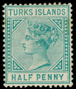 TURKS AND CAICOS ISLANDS SG53, ½d blue-green, M MINT. Cat £25.