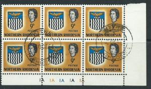 Northern Rhodesia  SG 81 MUH Block x 6 Plate IA