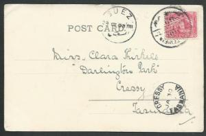 EGYPT TO TASMANIA 1903 Postcard, to Cressy with arrival cds................59625