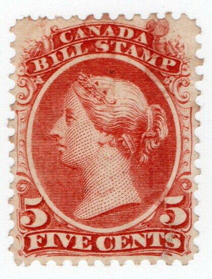 (I.B) Canada Revenue : Bill Stamp 5c (1865)