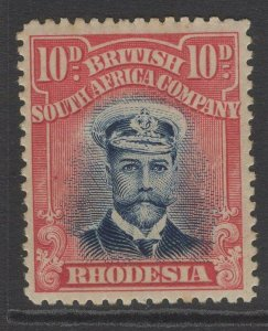 RHODESIA SG247 1913-9 10d BLUE & RED DIE II p15 MTD MINT