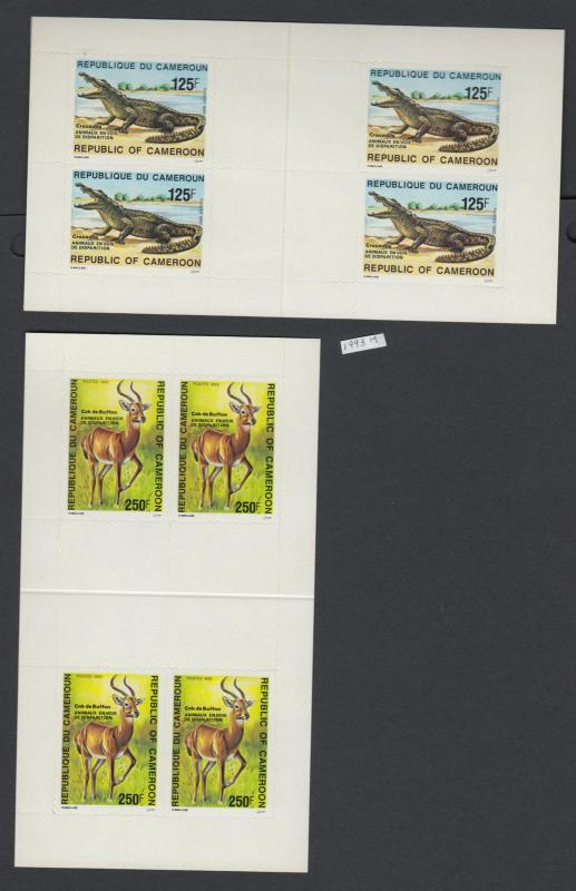 XG-AJ260 CAMEROON IND - Wild Animals, 1993 2 Adhesive Booklets MNH