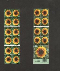 4347 Sunflower Double Sided Booklet Of 20 Mint/nh FREE SHIPPING