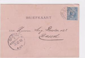NETHERLANDS TO KASSEL GERMANY POST CARD 1893  R 2441