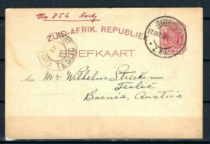 OLD AUSTRIA BOSNIA INCOMING MAIL FROM SUD AFRICA 1899. VERY RARE RRR!