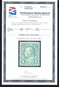 #581 XF/NH Graded 90 Clean cert!