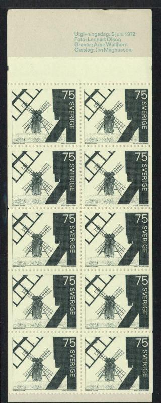 Sweden 763a Booklet MNH Windmills